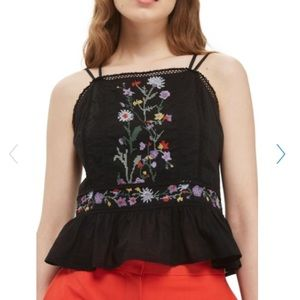 New! Topshop Embroidered Peplum Halter Top Size 8